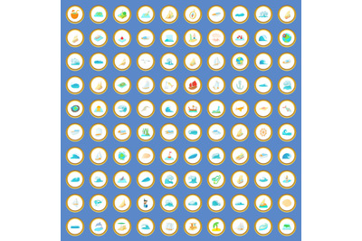 100 ocean icons set cartoon vector