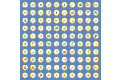 100 package and delivery icons set cartoon vector