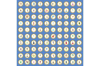 100 people icons set cartoon vector