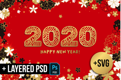 2020 New Year Numbers illustrations and backgrounds