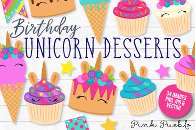 Unicorn Birthday and Cupcake Clipart