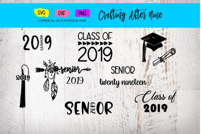 Senior 2019 Svg, Graduation Bundle, Diploma, Graduation Cap, Class of Svg, Class of 2019, Graduation Hat Clipart, Grad Files, Grad Tassel