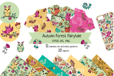 Cute vibrant colours autumn seamless patterns with owls and forest