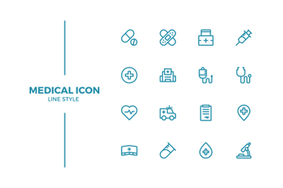 Medical, medicine, hospital icon set in line style
