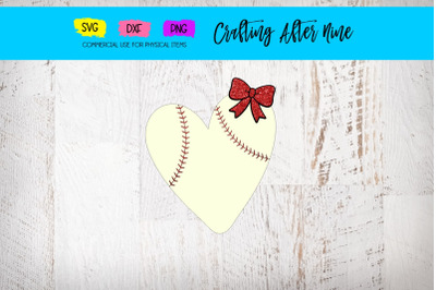 Baseball Heart with Bow, Baseball Stitches, Sports Designs, Softball