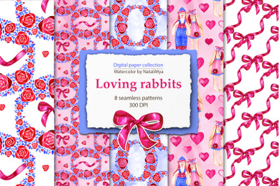 Loving rabbits digital papers