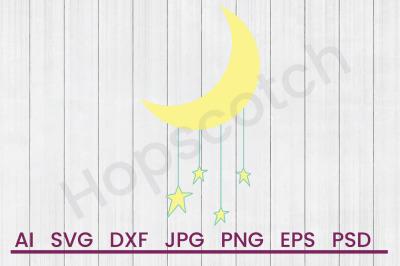 Moon & Stars- SVG File, DXF File
