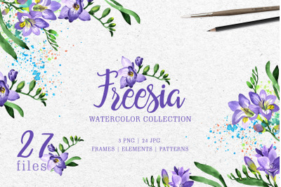Purple Freesia Watercolor Set, Hand Painted, Free Commercial Use, Pers