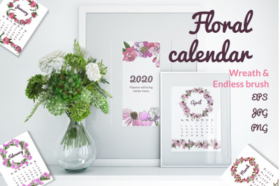 Calendar 2020 with hand drawn flowers. Floral compositions.