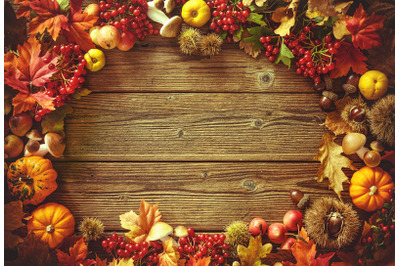 Vintage autumn border from fallen leaves
