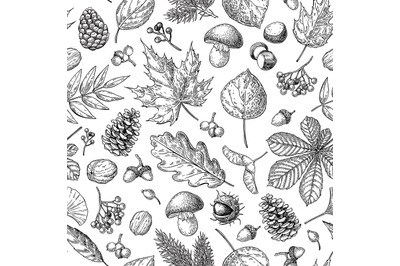 Autumn seamless vector pattern with leaves, berries, fir cones, nuts,
