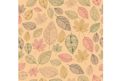 Hand drawn tree leaves seamless pattern background