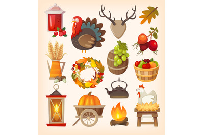 Set of colorful vector graphic elements for thanksgiving day