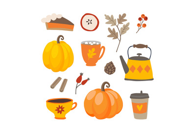 Set of cute cartoon Thanksgiving day icons