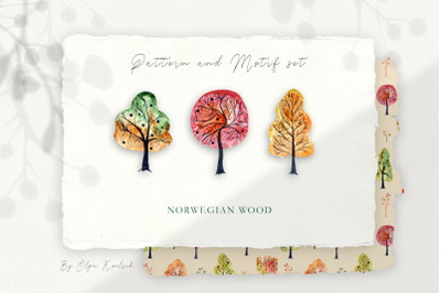 Autumn Trees Patterns and Motifs Set