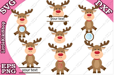 Reindeer Monogram Svg, Cute Reindeer clipart,Christmas Svg
