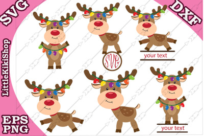 Reindeer Lights Svg, Christmas Reindeer clipart, Xmas Svg