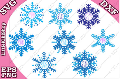 Snowflakes Monogram Svg, Christmas svg, Snowflake clipart