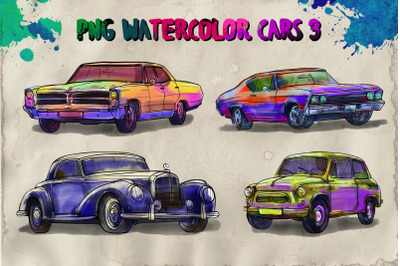 PNG watercolor cars 3