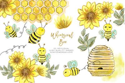 Watercolor bee clip art, Watercolor Honey Clipart, Bees Clipart Set