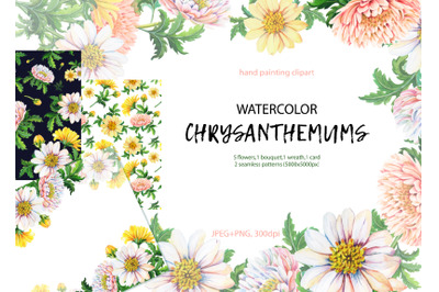 Watercolor chrysanthemums.