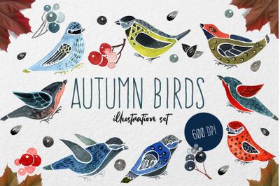 Watercolor Autumn Birds Set