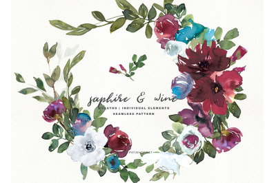 Sapphire Burgundy Watercolor Floral Wreaths