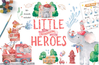 Little Heroes Watercolor cute animals