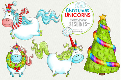 Christmas Unicorns with Clouds & Tree