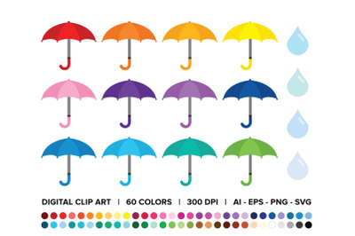 Umbrellas and Raindrops Clip Art Set