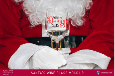 Santa's Wine Glass  Christmas Mock Up