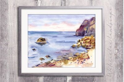 Watercolor calm sea landscape