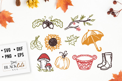 Autumn cliparts set SVG