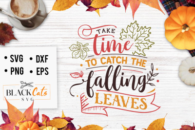 Take time to catch the falling leaves SVG