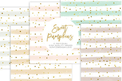 Rainbow Pastel Digital Paper, gold glitter mint blue