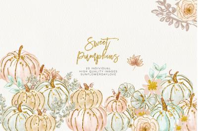 Pumpkin Clip Art, Pastel Hand Drawn Autumn Graphics