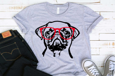 PUG whit Glasses SVG mops dog svg clipart pugs puppy cricut 1504s