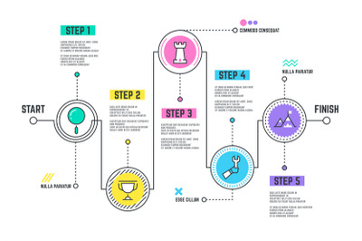Company journey path. Infographic roadmap with steps line timeline