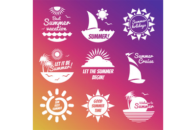 White summer rest labels with sun and sea