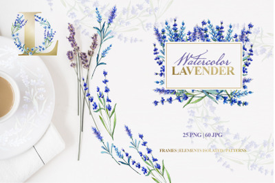 Watercolor lavender PNG JPG set