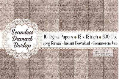16 Seamless Vintage Damask Linen Burlap Digital Papers