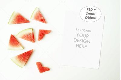 5 x 7 Card Mockup / Watermelon