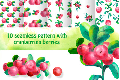 10 seamless background with cowberry leaves and berries. Watercolor