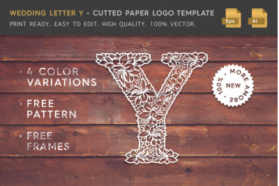 Wedding Letter Y - Cutted Paper Logo