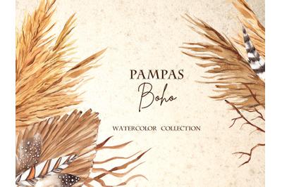 Pampas Boho. Watercolor collection