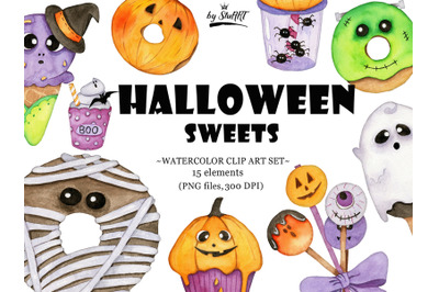 Watercolor Halloween Sweets Clipart