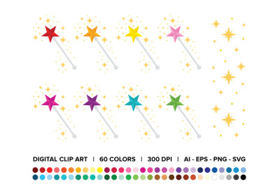 Magic Star Fairy Wand Clip Art