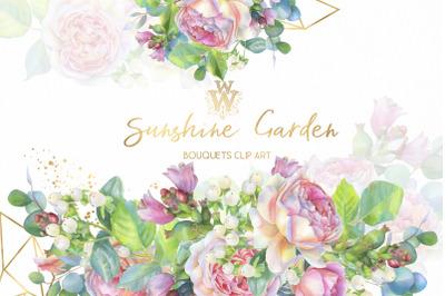 Blush rose watercolor clip art, floral bouquet clipart