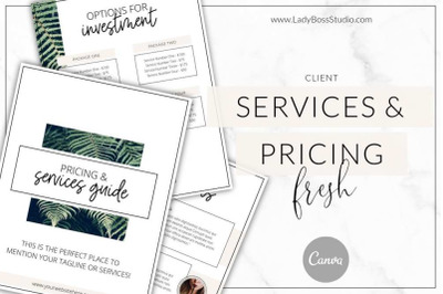 Canva Fresh Pricing and Services Guide Templates