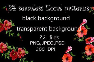 Bundle seamless floral patterns.